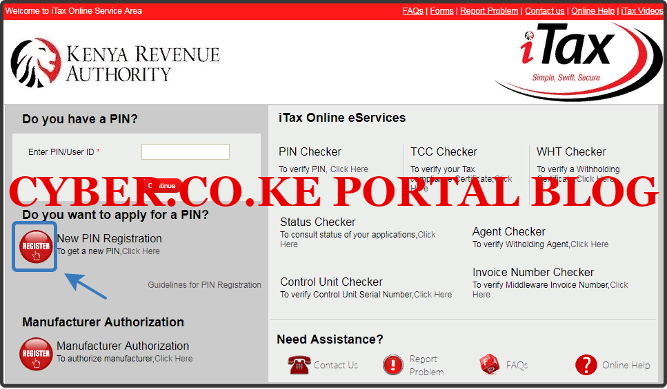 click on the register button on itax portal
