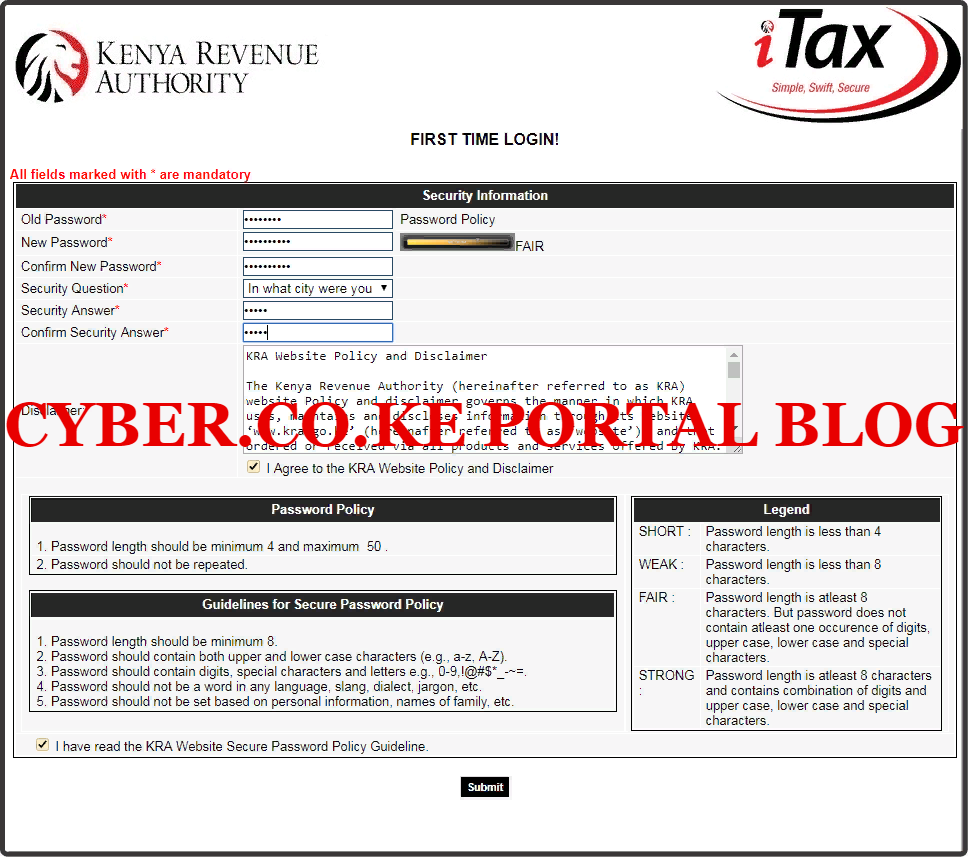create a new kra password for your kra web portal account