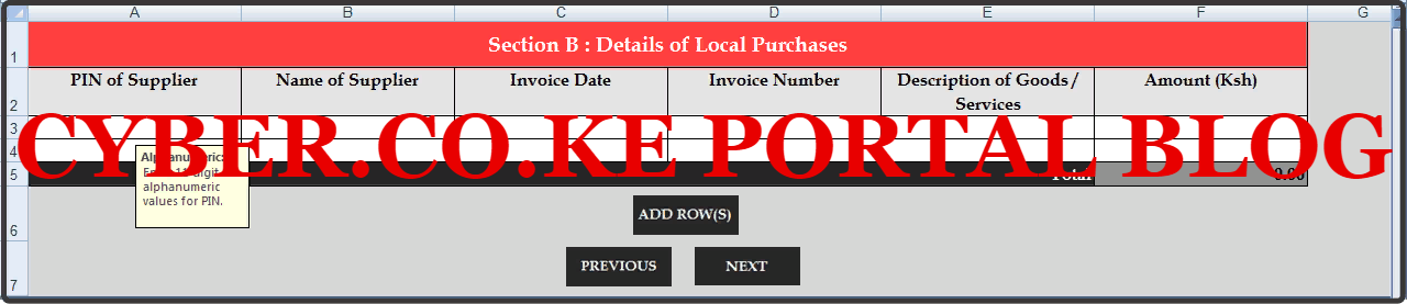 details of local purchases on the turnover tax form