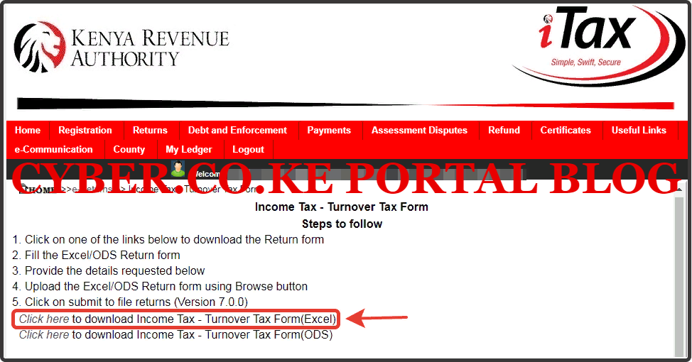 download the turnover tax form