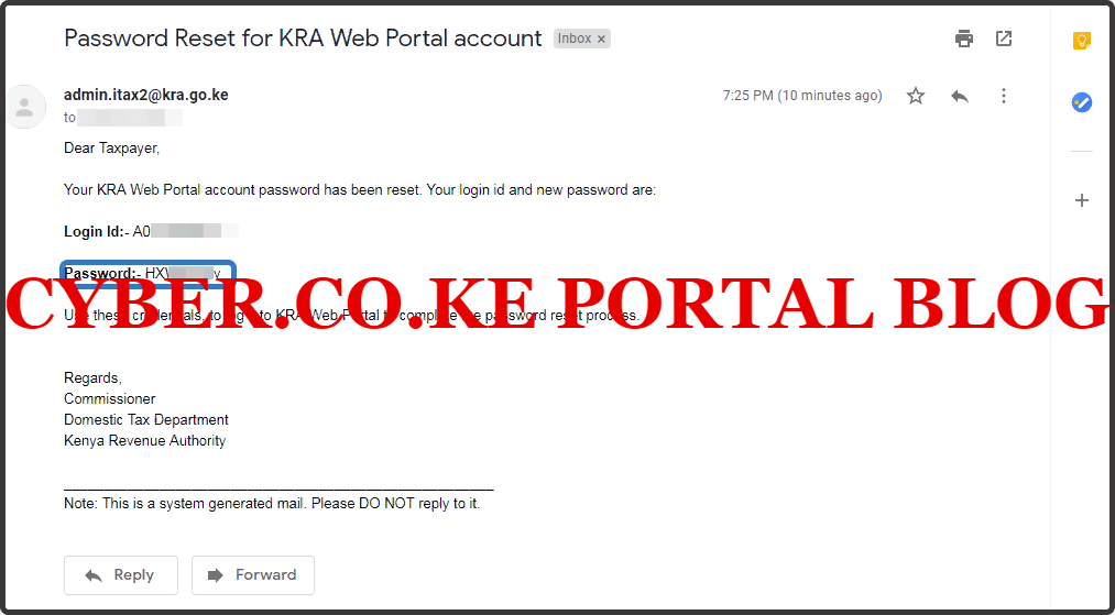 kra password reset for kra web portal account