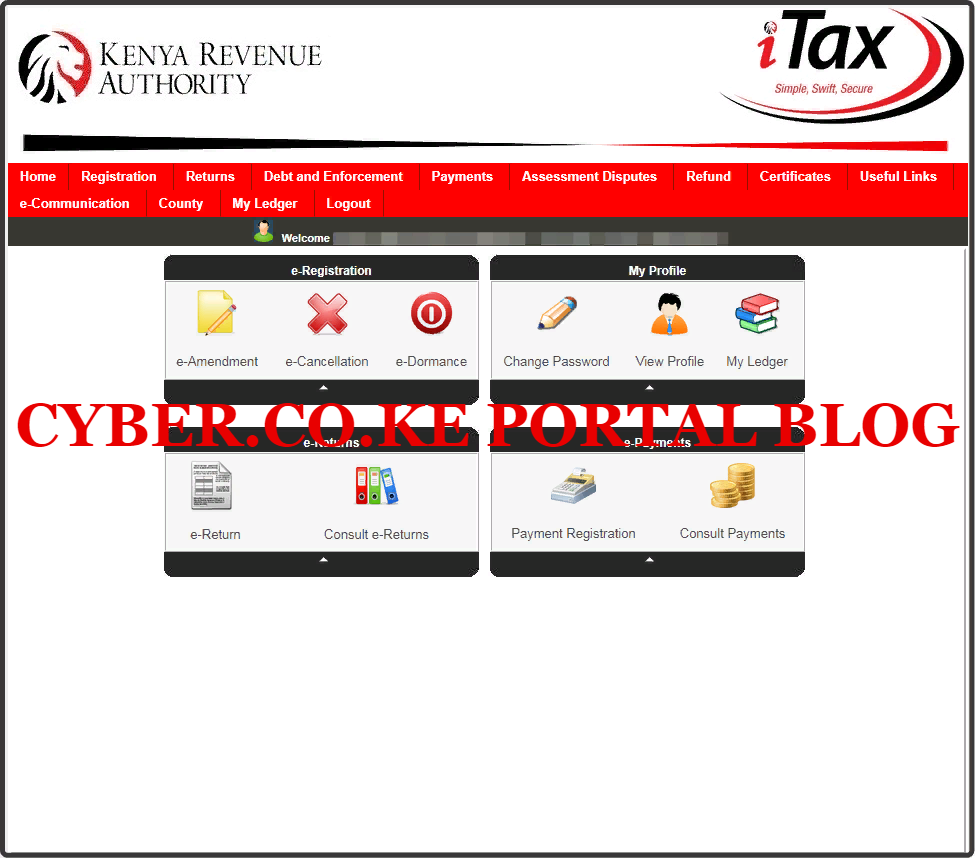 kra web portal account dashboard for new taxpayers in kenya