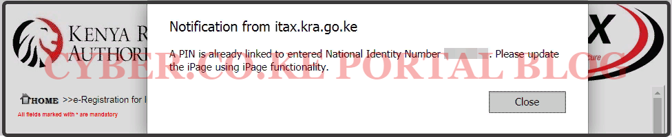 recovery of kra pin number