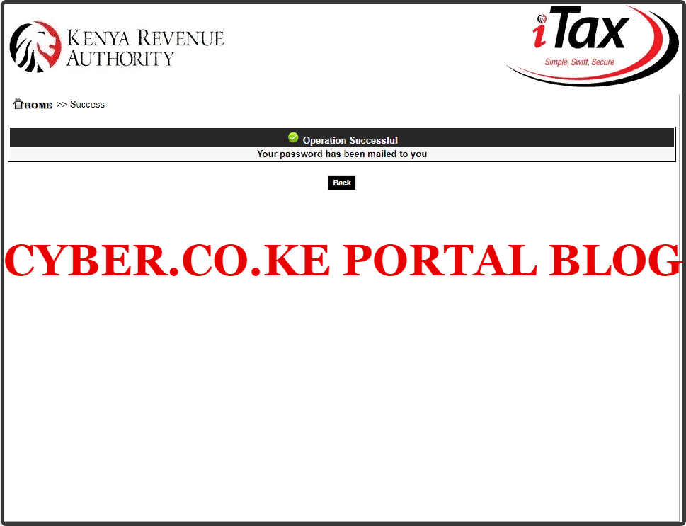 your kra password has been mailed to you