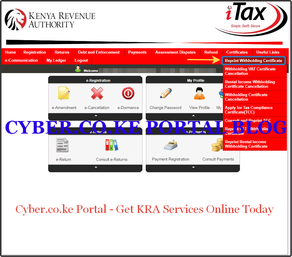 click on reprint withholding certificate