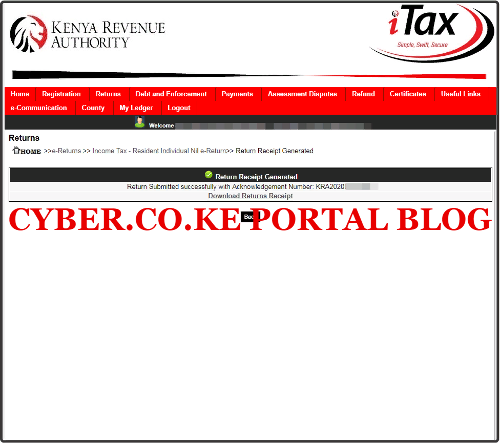 download kra returns for employed acknowledgement receipt