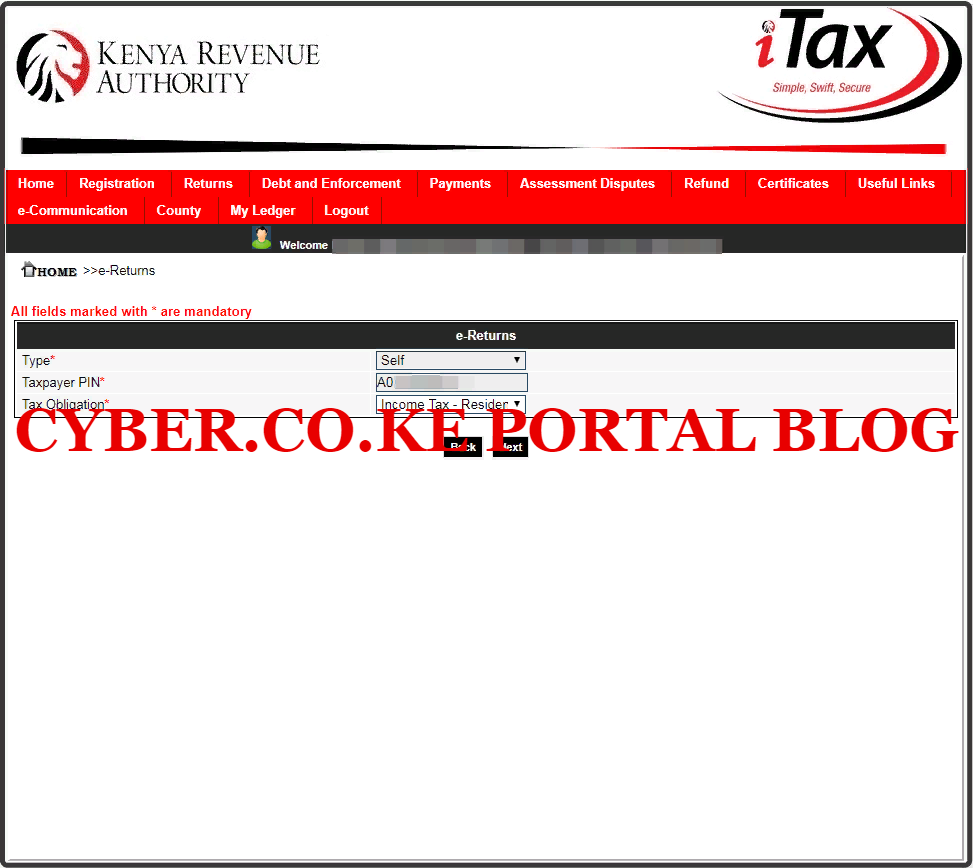 select kra tax obligation