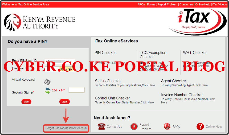 step 3: how to recover kra password using kra portal - click on forgot password