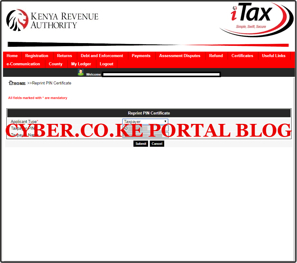 select applicant type for kra pin number download