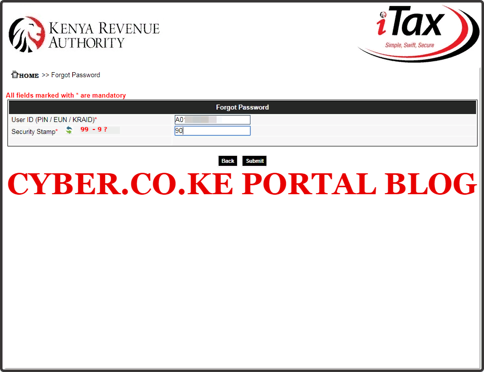 step 4: how to recover kra password using kra portal - solve arithmetic question