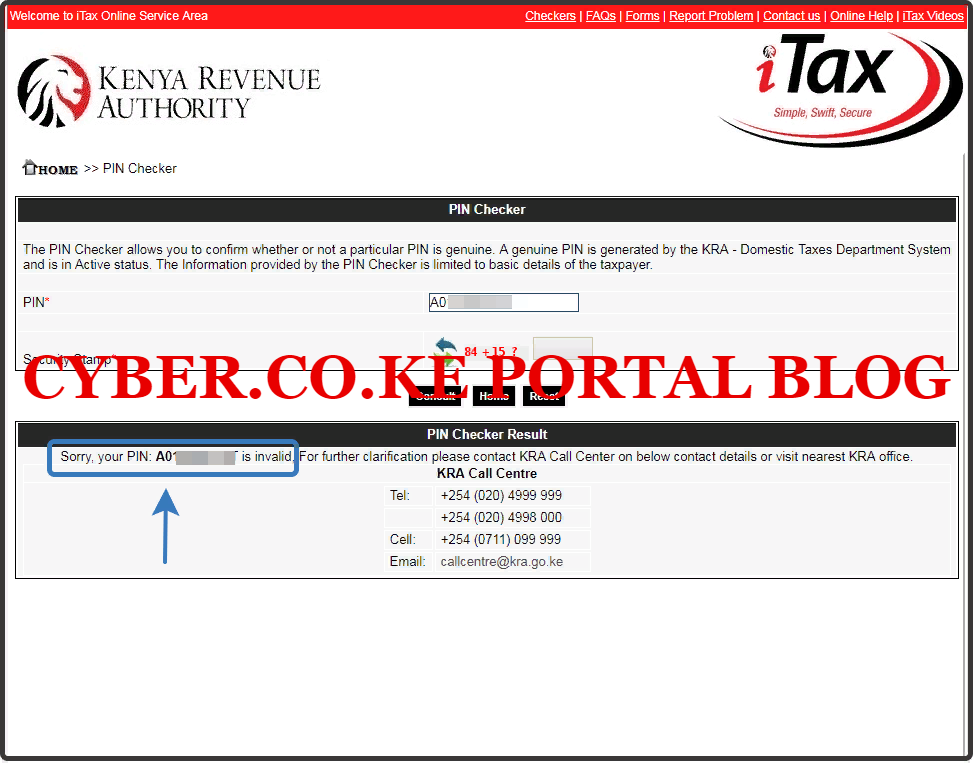 details of itax pin checker results on kra portal