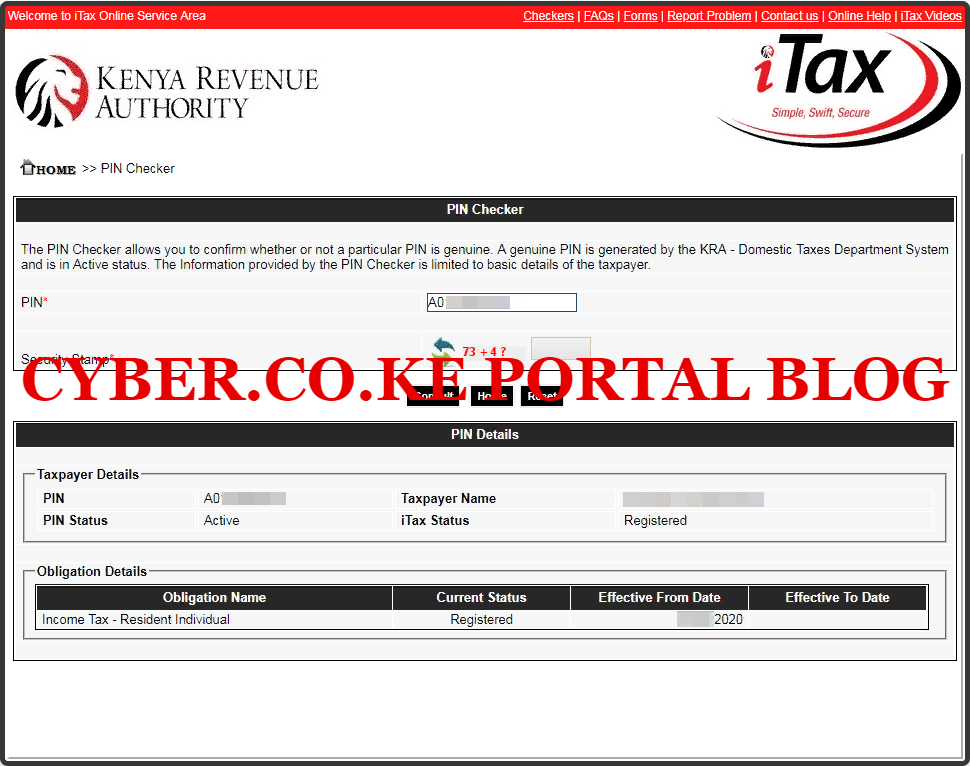 itax pin checker results for taxpayers in kenya
