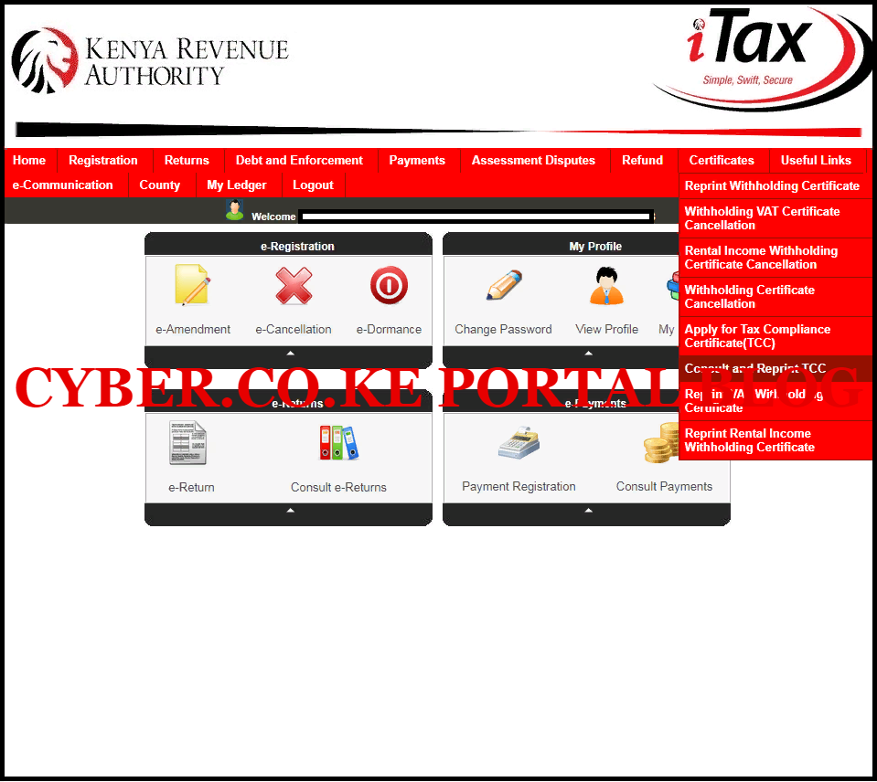 Click On Certificates Then Consult And Reprint Tax Compliance Certificate PDF