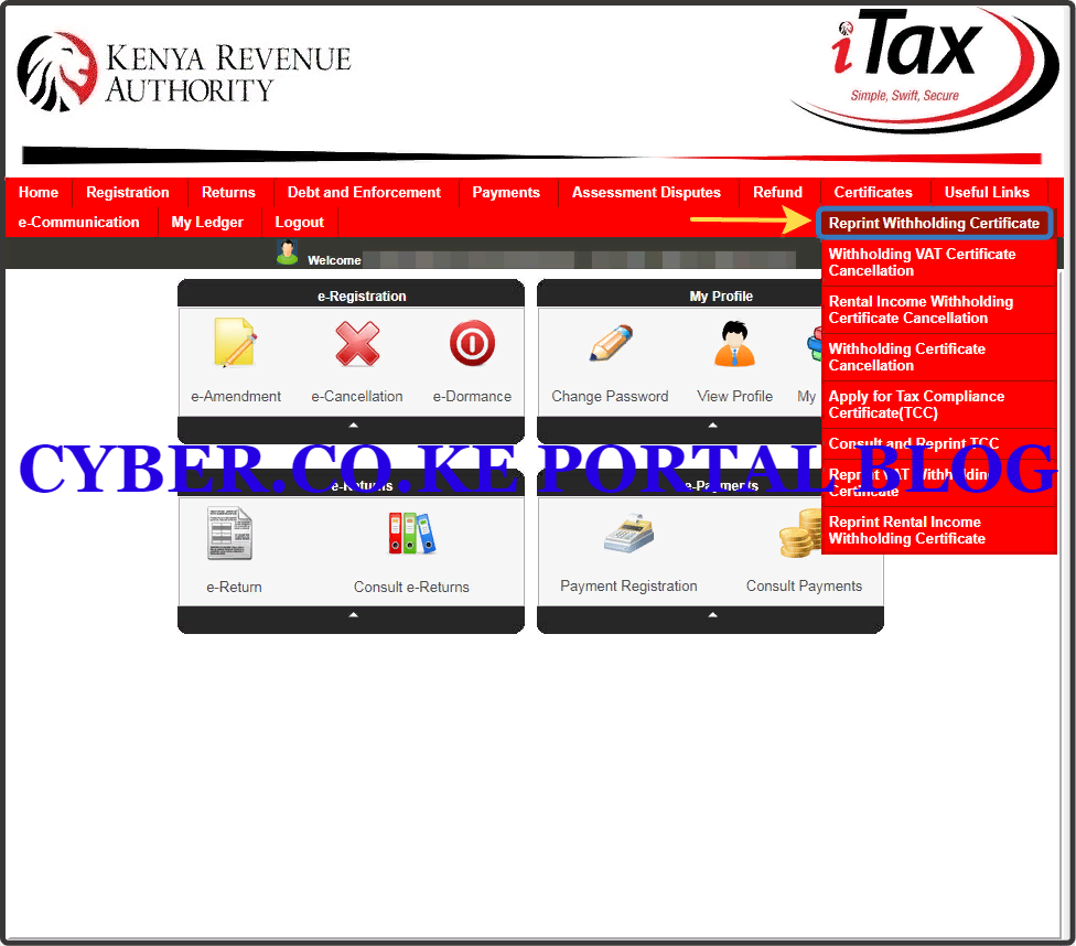click on download withholding certificate