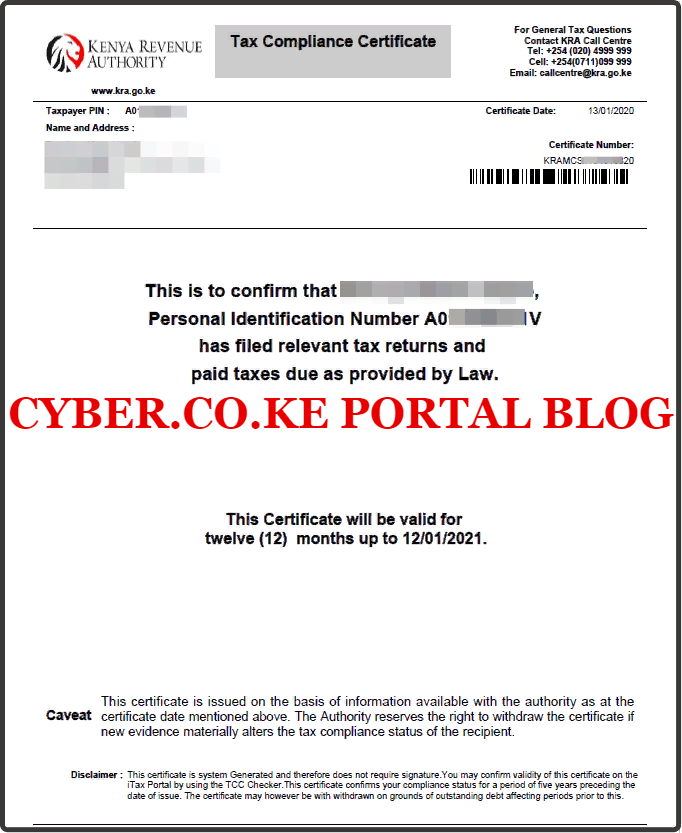 kra clearance certificate form